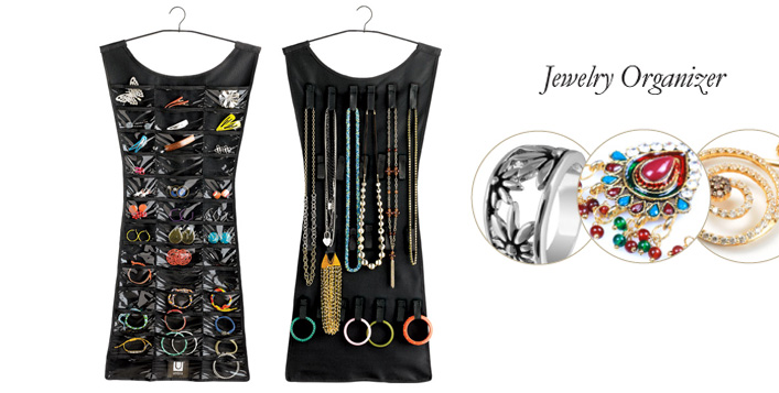 Organize your jewelry with full visibility of your items hung and placed on the creatively designed Little Black Dress Jewelry Organizer from The Deal Genie Online for AED 59 (Value AED 149) – 39 clear vinyl pockets and 24 hook and loop closures!