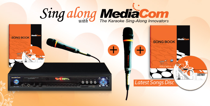 Karaoke Player with 2 Wired Mics & Songbook