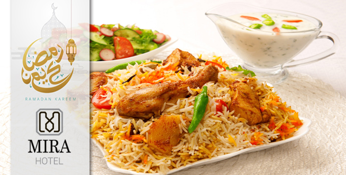 Chicken Biryani, soup, salad, drinks and more