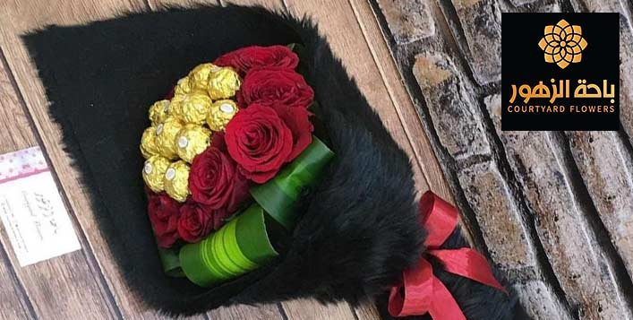 Fur Bouquet including 10 Roses & Chocolate