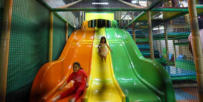 Soft play area with meal choices