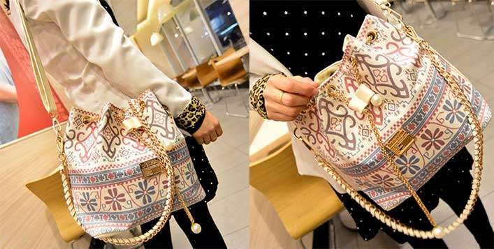 Folk-Print Canvas Hobo Bucket Bag for AED39