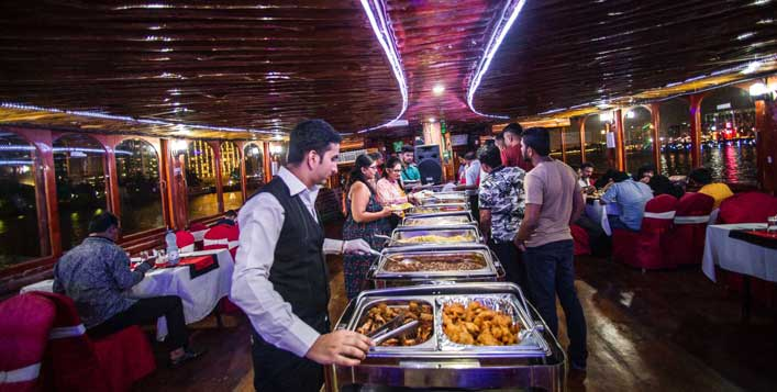 Buffet with unlimited drinks & romantic setup