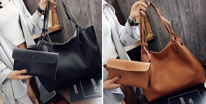 2 Piece Leather Shoulder Bag
