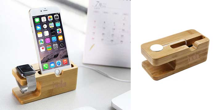 2-in-1 Wooden Holder for iPhone & Apple Watch