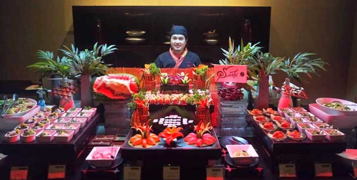 Live sushi counter at Sakura Restaurant