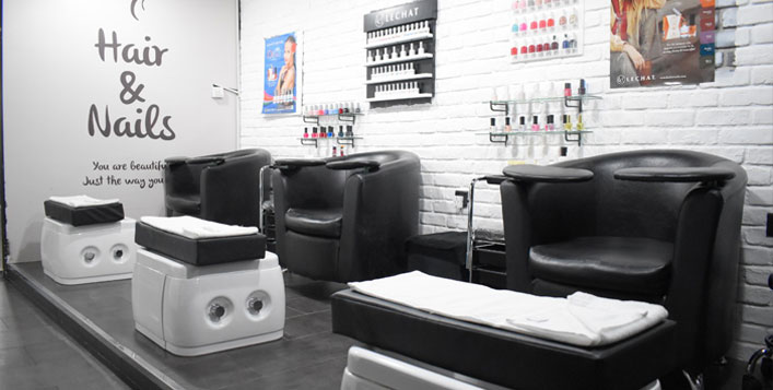 Optional mani-pedi, root and full hair colour
