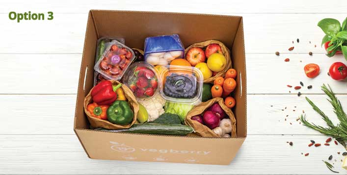 Fresh fruits and vegetables in a box!