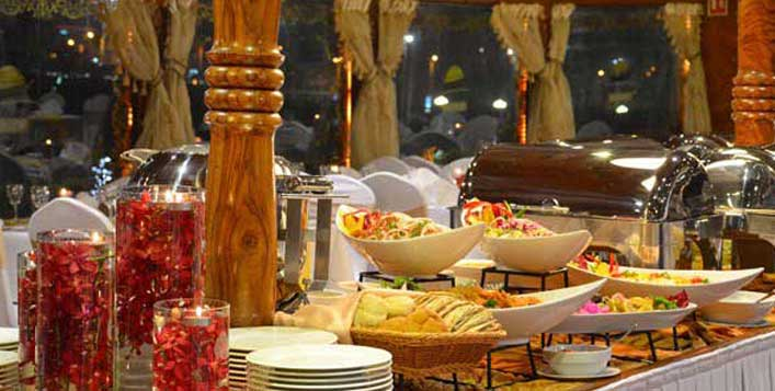 International buffet with unlimited beverages